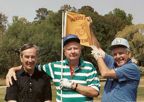Paxton (l), Red Carpenter and John Funk on golf outing in early 1980s