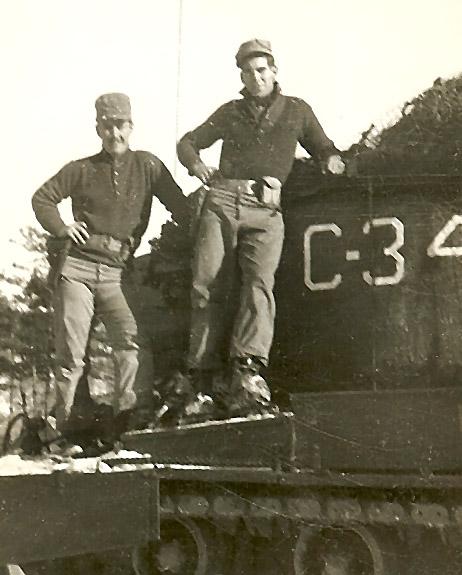Sgt. Paxton (l) and home town buddy, tank commander Sgt. Jack Losier near Chon do Ri, Korea 1951