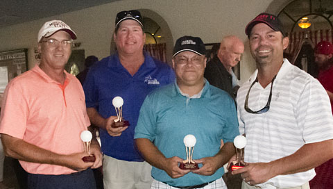 First Place winners in the USMCCCA Foundation, Florida Chapter Golf tournament at Sherman Hills Golf Club in Brooksville, Fla., April 22, 2016. (left to right) Jeff Faulkner, Shawn Doherty, William Hunt and Josh Waring.