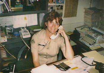 OLD CORPS: Working on the Chevron, MCRD San Diego, circa 1983. Note the MANUAL typewriter in the background. I didnt use a computer to write stories until 1986. I loved the sound of the keys tapping. (Hated the rewrites, though.)